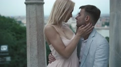 Gorgeous wedding couple passionately kissing in the old city of Budapest Stock Footage