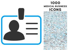 Personal Badge Icon with 1000 Medical Business Icons Stock Illustration