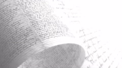 Pages covered in scrawls and doodle. Handwriting. Seamless Background Loop. Stock Footage