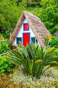 Portuguese traditional house in Santana, Madeira Island Stock Photos