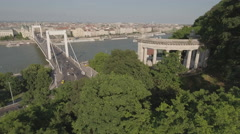 Aerial view of Budapest - Elizabeth bridge and Danube river, Hungary Stock Footage