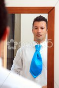 Groom moments before his wedding Stock Photos