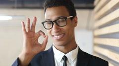 Sign of Okay, Gesture by Black Businessman in Suit, Satisfaction Stock Footage