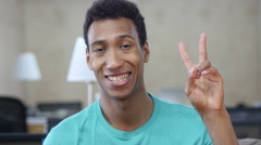 Success and Victory Sign, Young Black Man Gesture Stock Footage