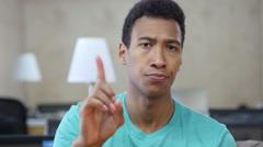 Disagree, Denying Young Black Man Gesture, Finger Stock Footage
