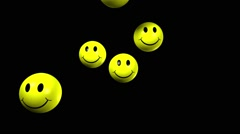 3D Yellow smiling balls Stock Footage