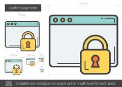 Locked page line icon Stock Illustration