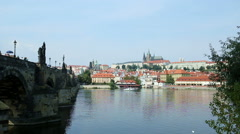 Prague castle seen from next to the Charles Bridge in Prague Stock Footage