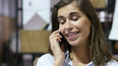Happy Girl Talking on Phone, Portrait Stock Footage