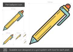 Pen ballpoint line icon Stock Illustration