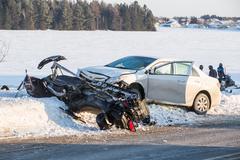 Car vs ski-doo Stock Photos