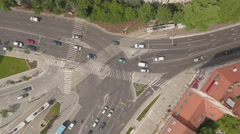 Aerial view of city traffic - Szell Kalman square, Budapest, Hungary Stock Footage