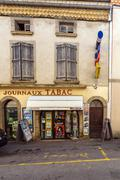 CARCASSONNE, FRANCE - APRIL 1, 2011: Vintage small street shop with magazines Stock Photos