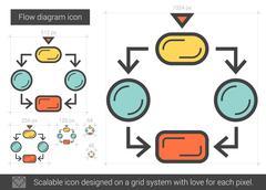 Flow diagram line icon Stock Illustration