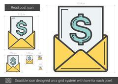 Read post line icon Stock Illustration