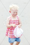 Portrait of crying little girl Stock Photos