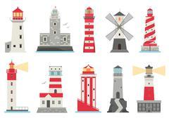 Vector set of cartoon flat lighthouses Stock Illustration