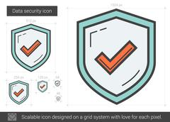 Data security line icon Stock Illustration