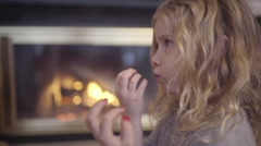Closeup Of Little Girl Blowing On Her Freshly Painted Nails Stock Footage