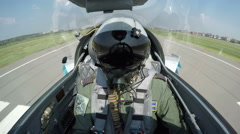 POV shot from the cockpit of a fighter plane. Stock Footage