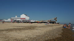 Tourists and Bathers on Great Yarmouth Beach Stock Footage