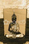 Golden shimmering meditating buddha Stock Photos