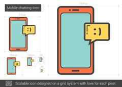Mobile chatting line icon Stock Illustration