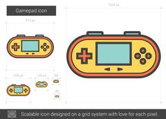 Gamepad line icon Stock Illustration