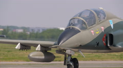 Military fighter jet, rear view, engines Stock Footage
