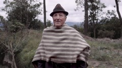 Elder peasant wearing mountain costume Stock Footage