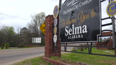 Establishing shot of sign welcoming visitors to Selma, Alabama. Stock Footage