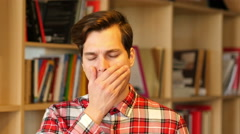 Yawning young Man , Work Overload Stock Footage