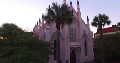 Aerial Shot of French Huguenot Church in Charleston SC Stock Footage