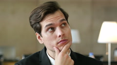 Thinking Pensive Businesman Portrait in Office Stock Footage