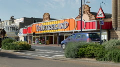 Tourists and Visitors along the Golden Mile Seafront at Great Yarmouth Stock Footage