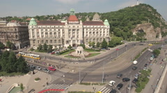 Flying over Danube river and after Gellert square - Budapest, Hungary Stock Footage