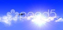 Aeroplane flying with good weather Stock Photos