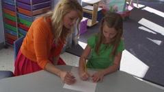 Teacher and little children at pre-school - 4K Stock Footage