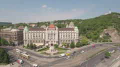Aerial view of Budapest, Hungary - Gellert hotel and square Stock Footage