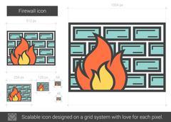 Firewall line icon Stock Illustration