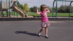 Little girl skipping rope at pre-school - 4K Stock Footage
