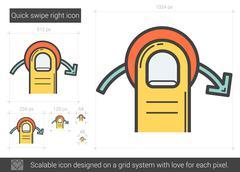 Quick swipe right line icon Stock Illustration