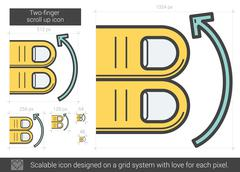 Two-finger scroll up line icon Stock Illustration