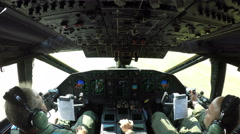 Aircraft security door cockpit cabin inside a bomber cargo plane Stock Footage