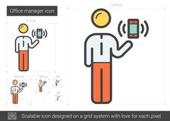 Office manager line icon Stock Illustration