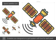 Space satellite line icon Stock Illustration