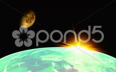 Earth with Rising Sun Kuvituskuvat