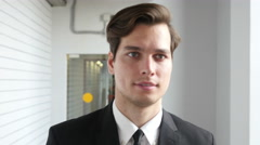 Businessman in Suit  Leaving Office, Walking Stock Footage