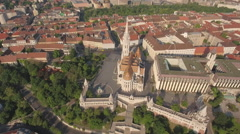 Aerial view of Budapest - Fishermans bastion and Matthias church, Hungary Stock Footage