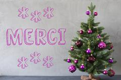 Christmas Tree, Cement Wall, Merci Means Thank You Stock Photos